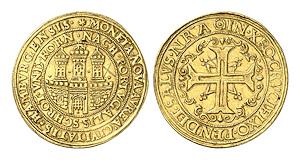 Hamburg. Portugalöser zu 10 Dukaten o. J. (1578-1582).