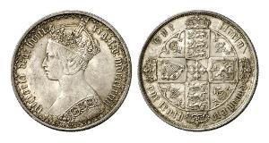 Großbritannien. Victoria, 1837-1901. Florin 1873, London. Gotischer Typ.