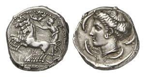 Syrakus. Tetradrachme, 415-405, signiert von Eumenos und Eukleidas.