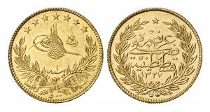 Osmanisches Reich. Muhammad V., 1909-1918. Goldprägung, Konstantinopel.