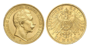 Wilhelm II., 1888-1918. 20 Mark 1889 A.