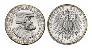 Friedrich August III., 1904-1918. 3 Mark 1917 E.