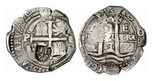 Spanisches Weltreich. 8 Reales 1661, Peru; mit Gegenstempel der spanischen Niederlande.
