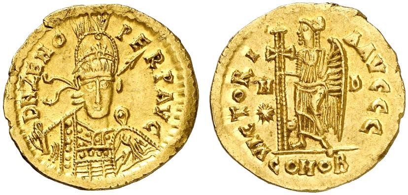 Odoaker, König von Italien ab 476-493. Solidus im Namen des Zeno, Mediolanum.