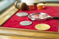 Münzen mit Lupe