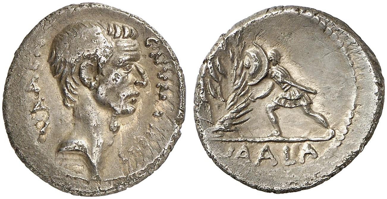 Denar des C. Numonius Vaala, Rom, 43 v. Chr. Mit Porträt des Cassius. Cr. 514/2. Aus Auktion Künker 280 (2016), 392. Schätzung: 4.000 Euro