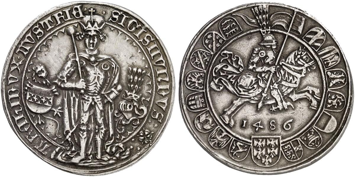 Erzherzog Sigismund Der Münzreiche 1446 1496 Guldiner 1486 Hall
