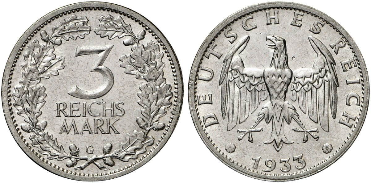 3 Reichsmark 1933 G J 349