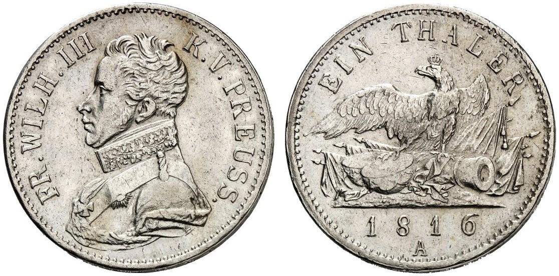 Friedrich Wilhelm Iii 1797 1840 Taler 1816 A Aks 12 Dav 758