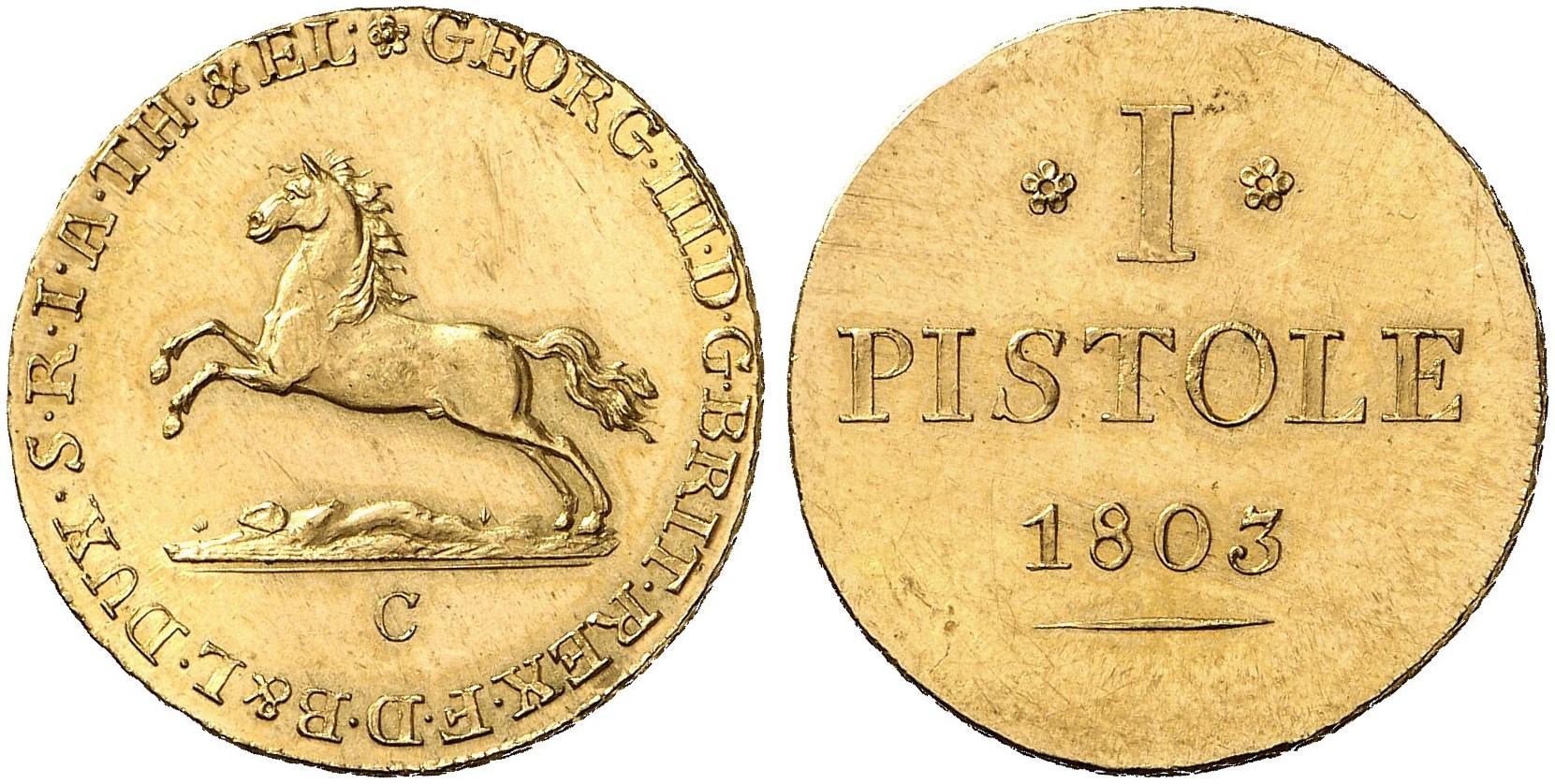 Georg Iii 1760 1820 Pistole 1803 C Divos 81 Fb 620 Schl 244