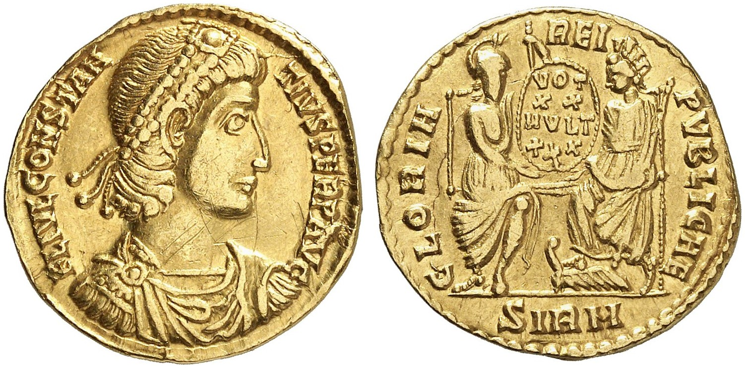 Constantius Ii 337 361 Av Solidus 353355 Sirmium 397 G Ric 1