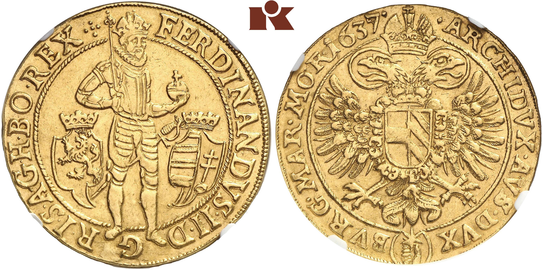 Ferdinand Ii 1592 1618 1637 10 Dukaten 1637 Prag Dietiker 764