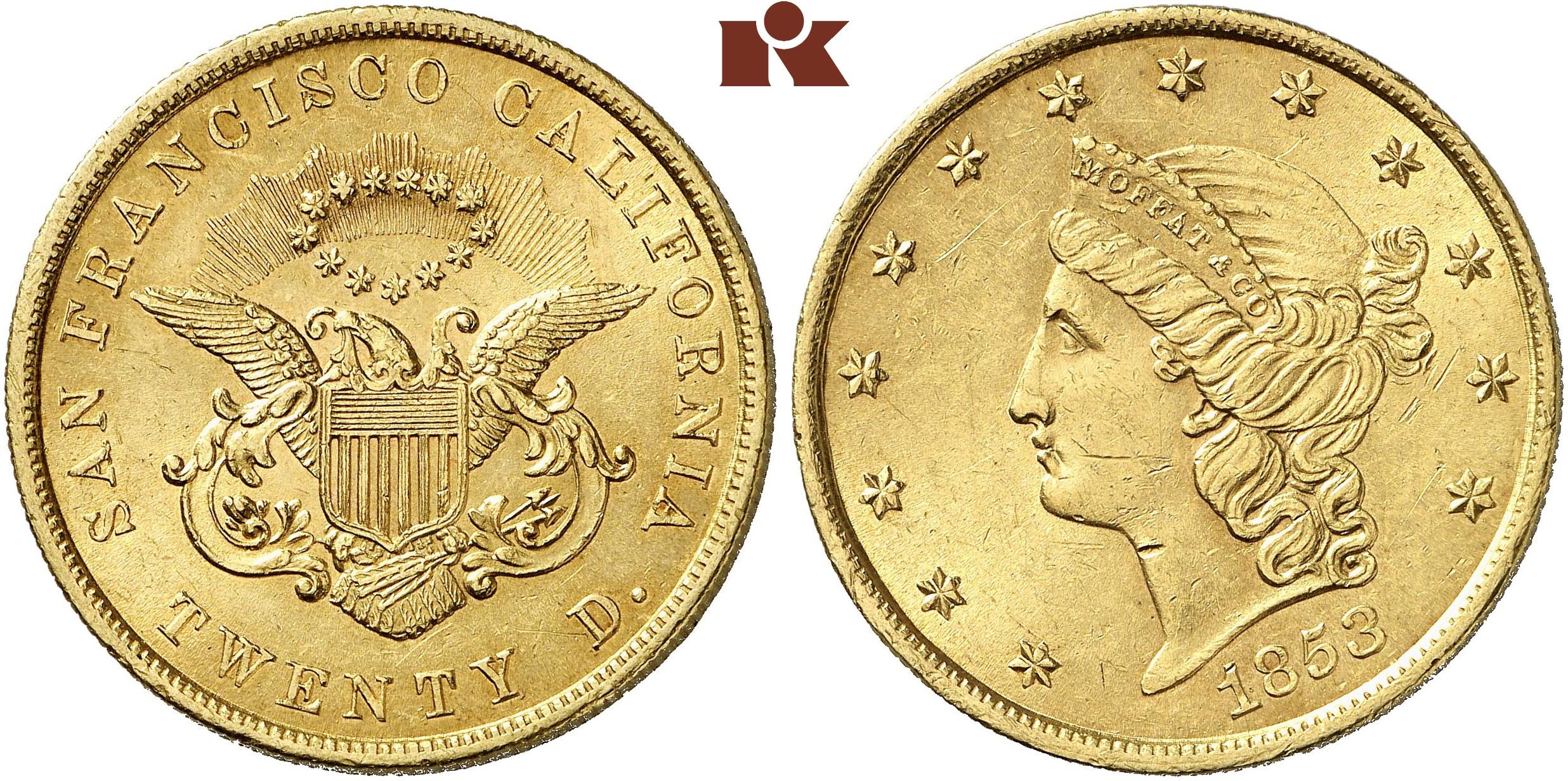 Kalifornien 20 Dollars 1853 33 37 G Fb 51