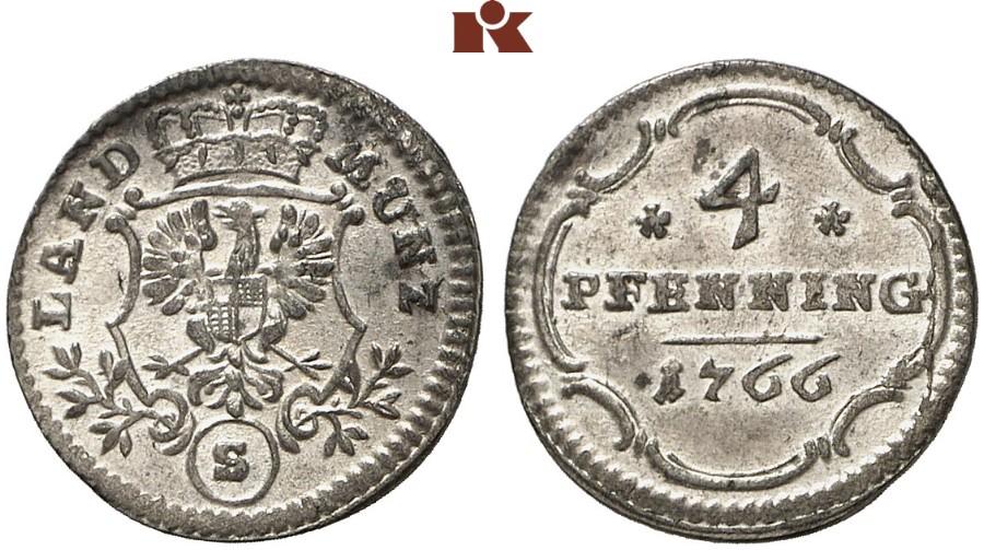 Christian Friedrich Karl Alexander 1757 1791 4 Pfennig 1766
