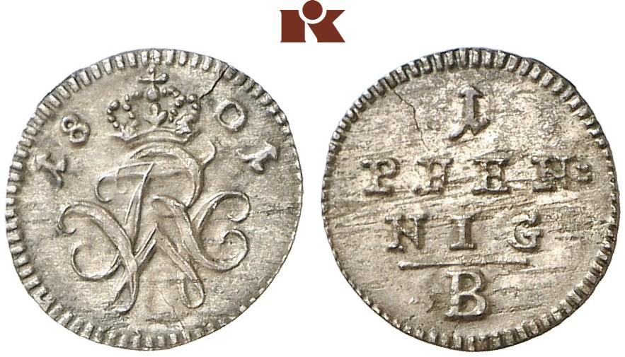 Friedrich Wilhelm Iii 1797 1840 Pfennig 1801 B Bayreuth J 202