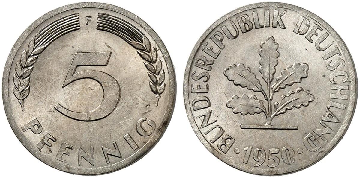 5 Pfennig 1950 F Zu J 382