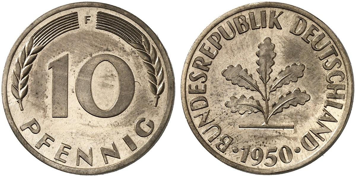 10 Pfennig 1950 F Zu J 383