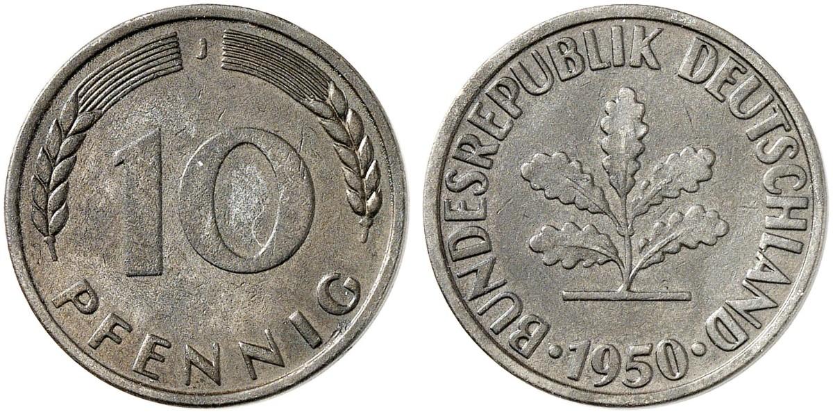 10 Pfennig 1950 J Zu J 383