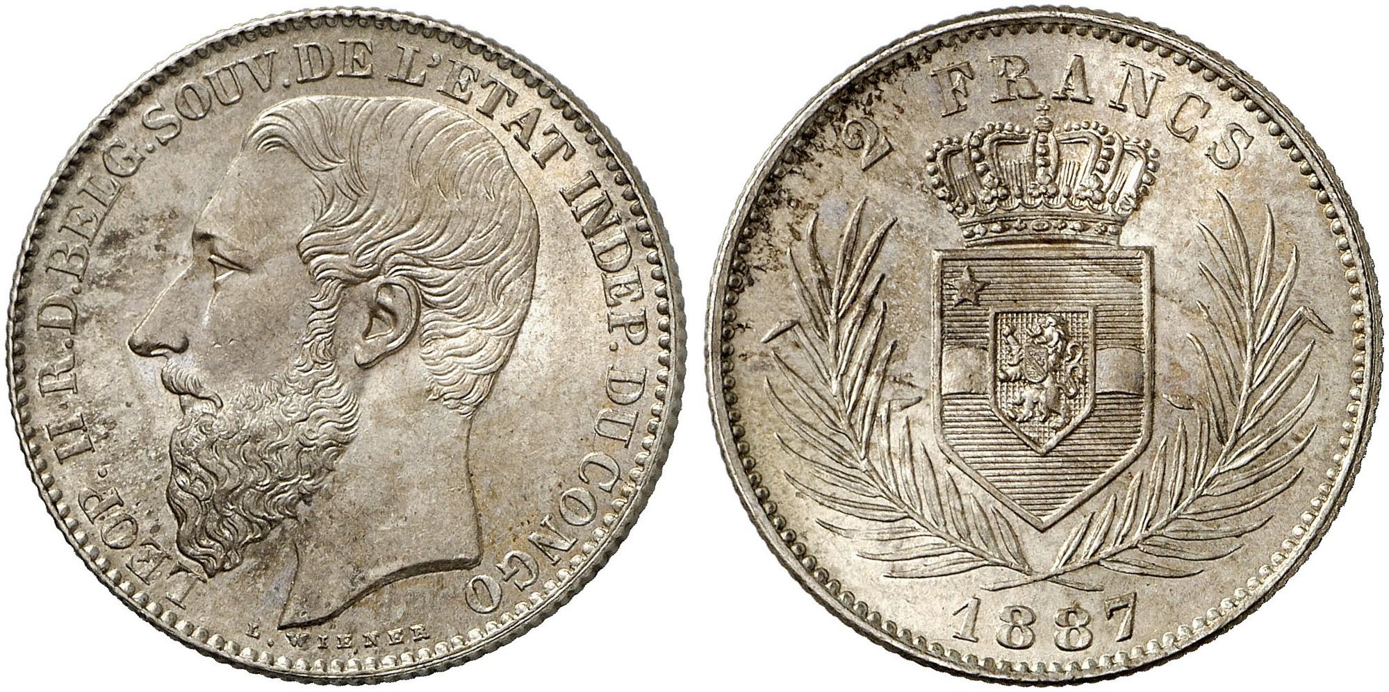 Leopold Ii 1865 1909 2 Francs 1887 Km 7