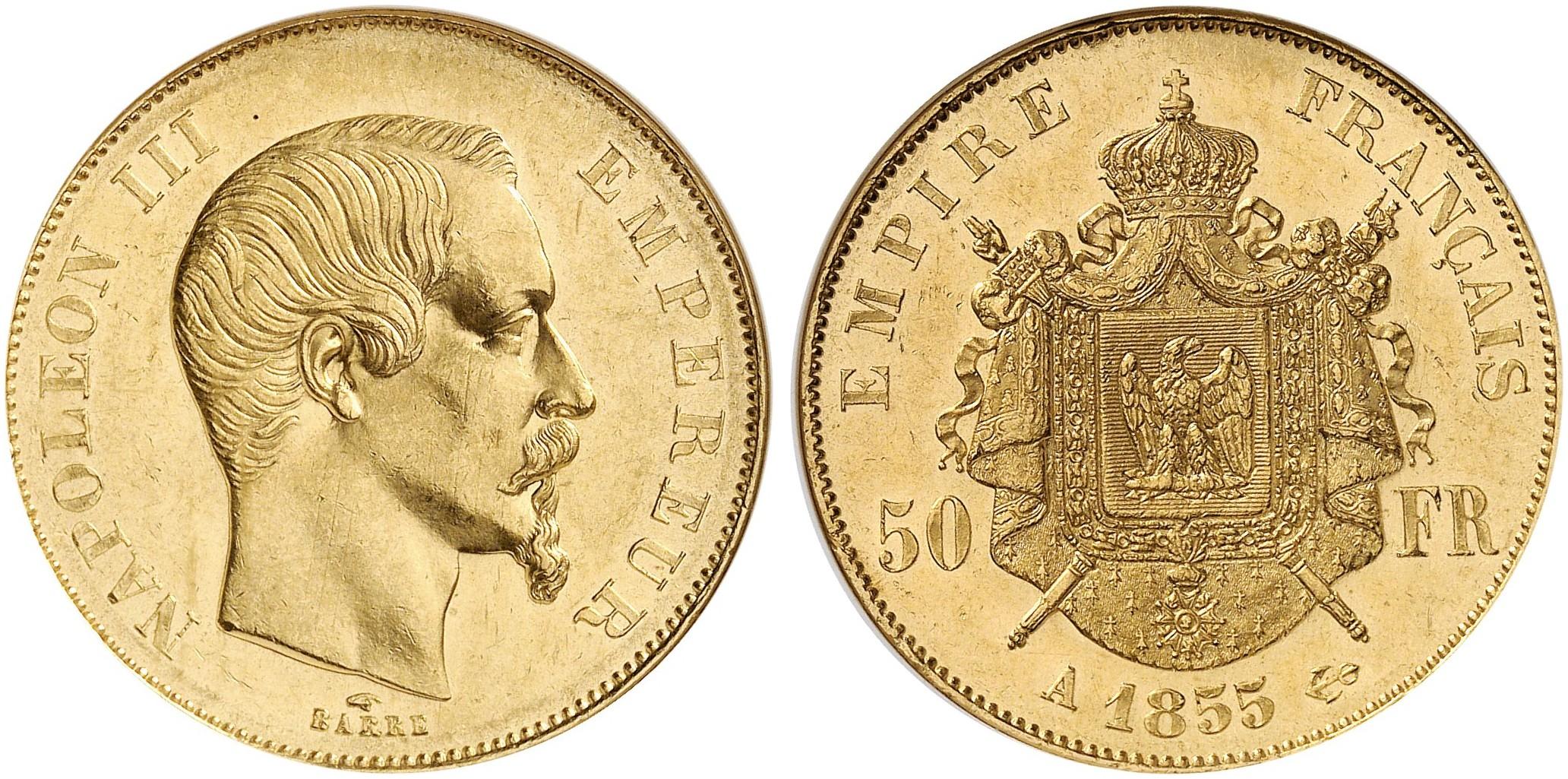 Napoléon Iii 1852 1870 50 Francs 1855 A Paris Fb 572 Gadoury