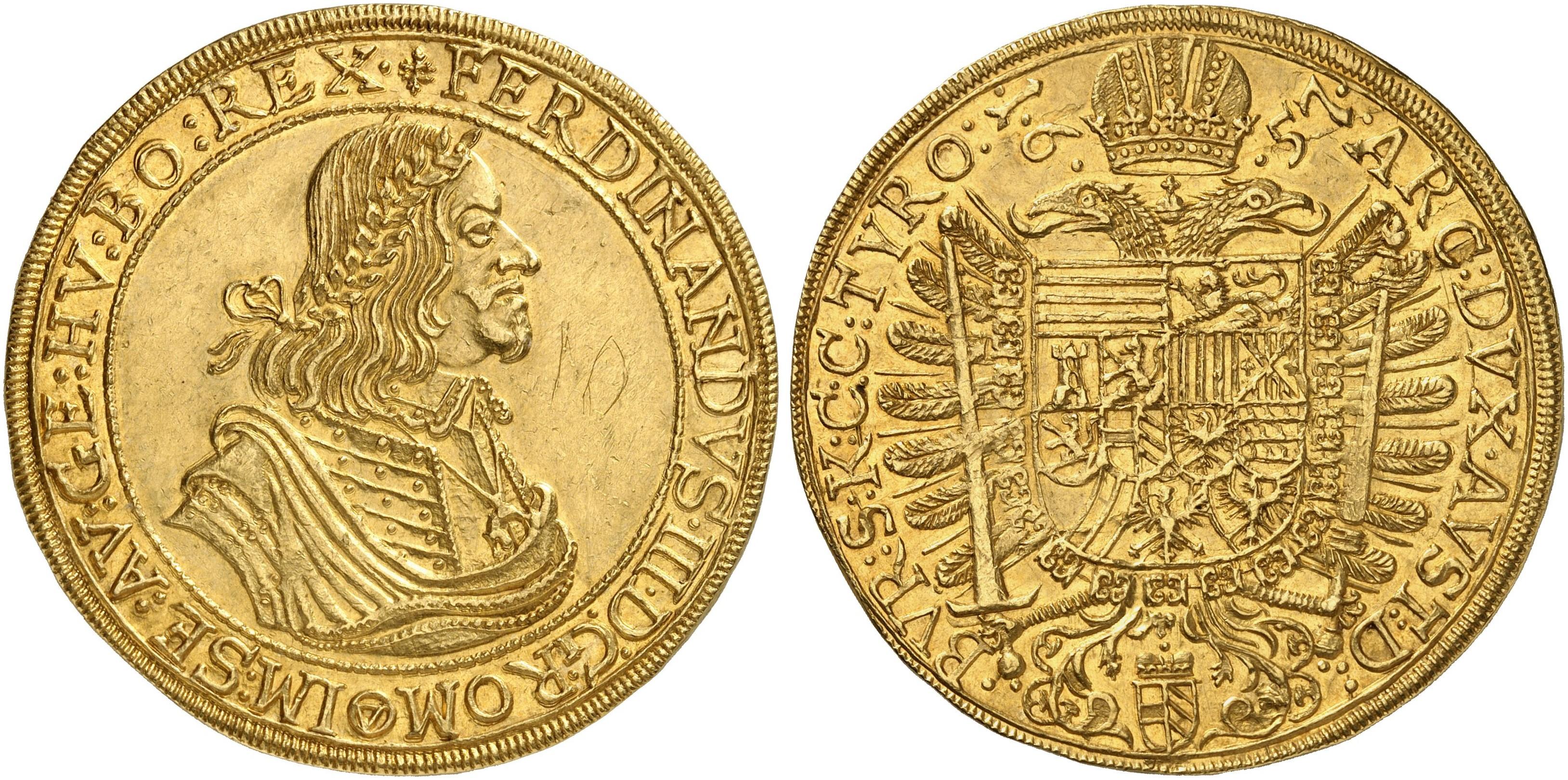 Ferdinand Iii 1625 1637 1657 10 Dukaten 1657 Wien 3457 G Fb