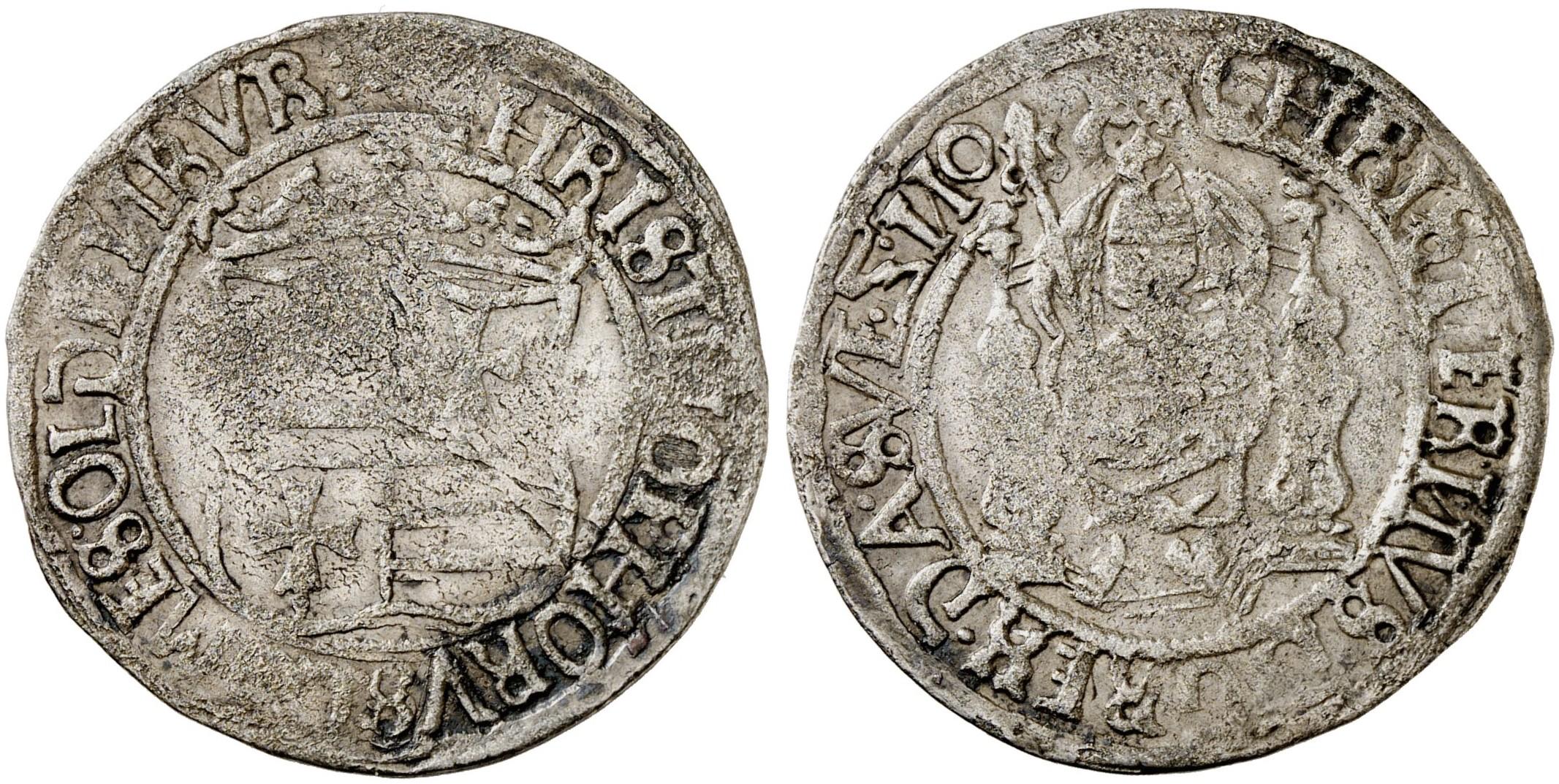 Christoph, *1504, †1566. Doppelschilling o. J., Malmö oder ...