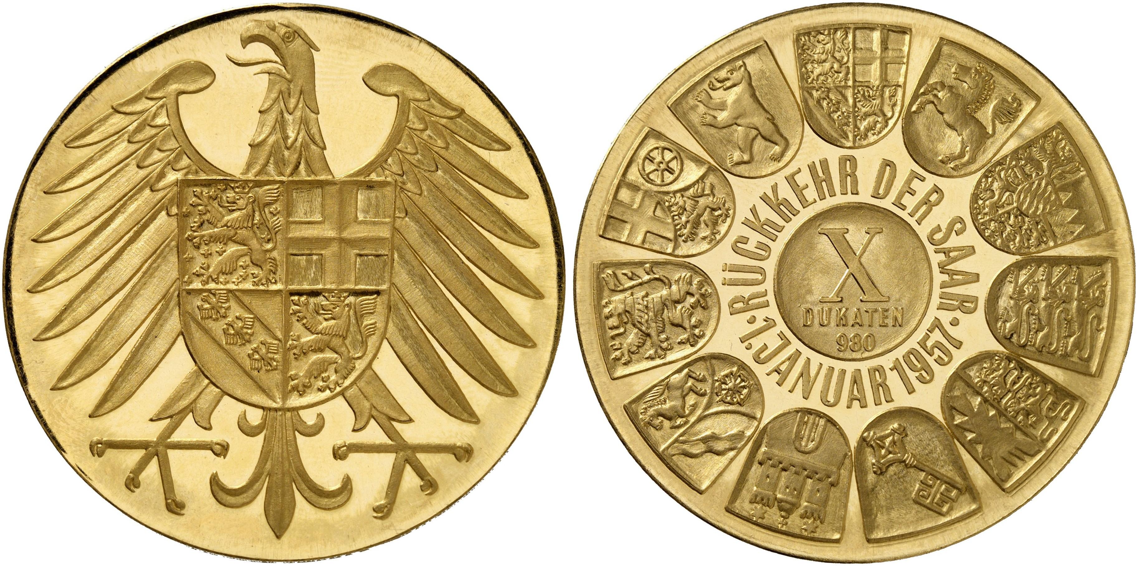 Goldmedaille Zu 10 Dukaten 1957