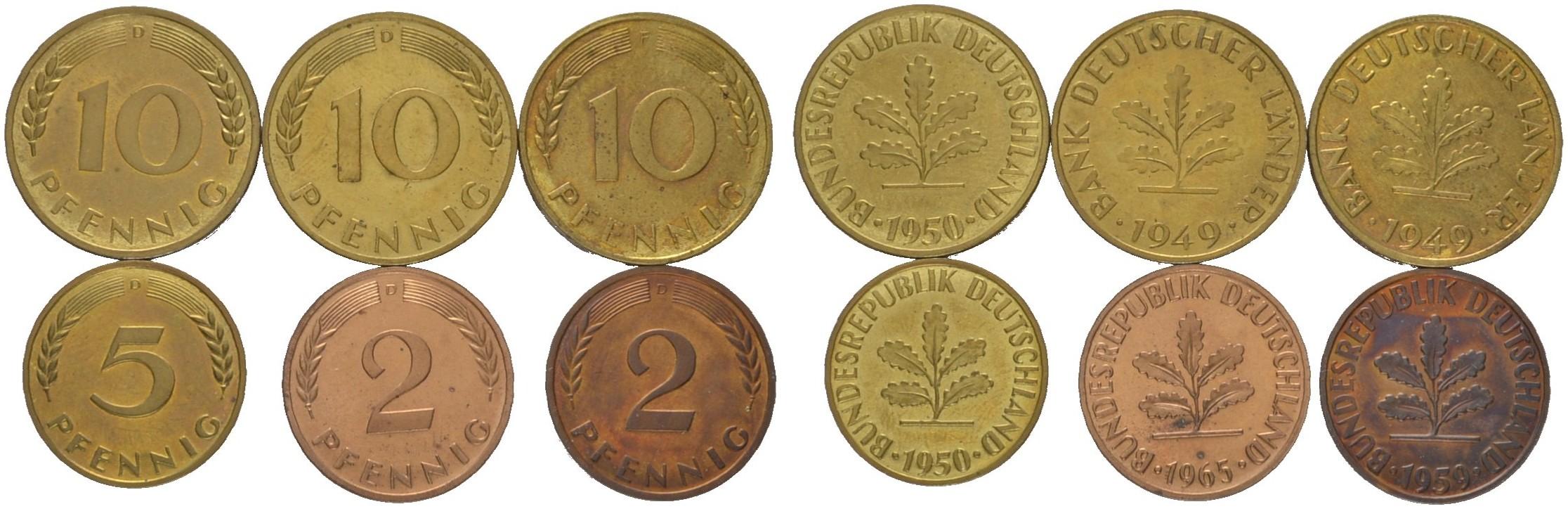 J 381 2 Pfennig 1959 D 1965 D J 378 10 Pfennig 1949 D F J