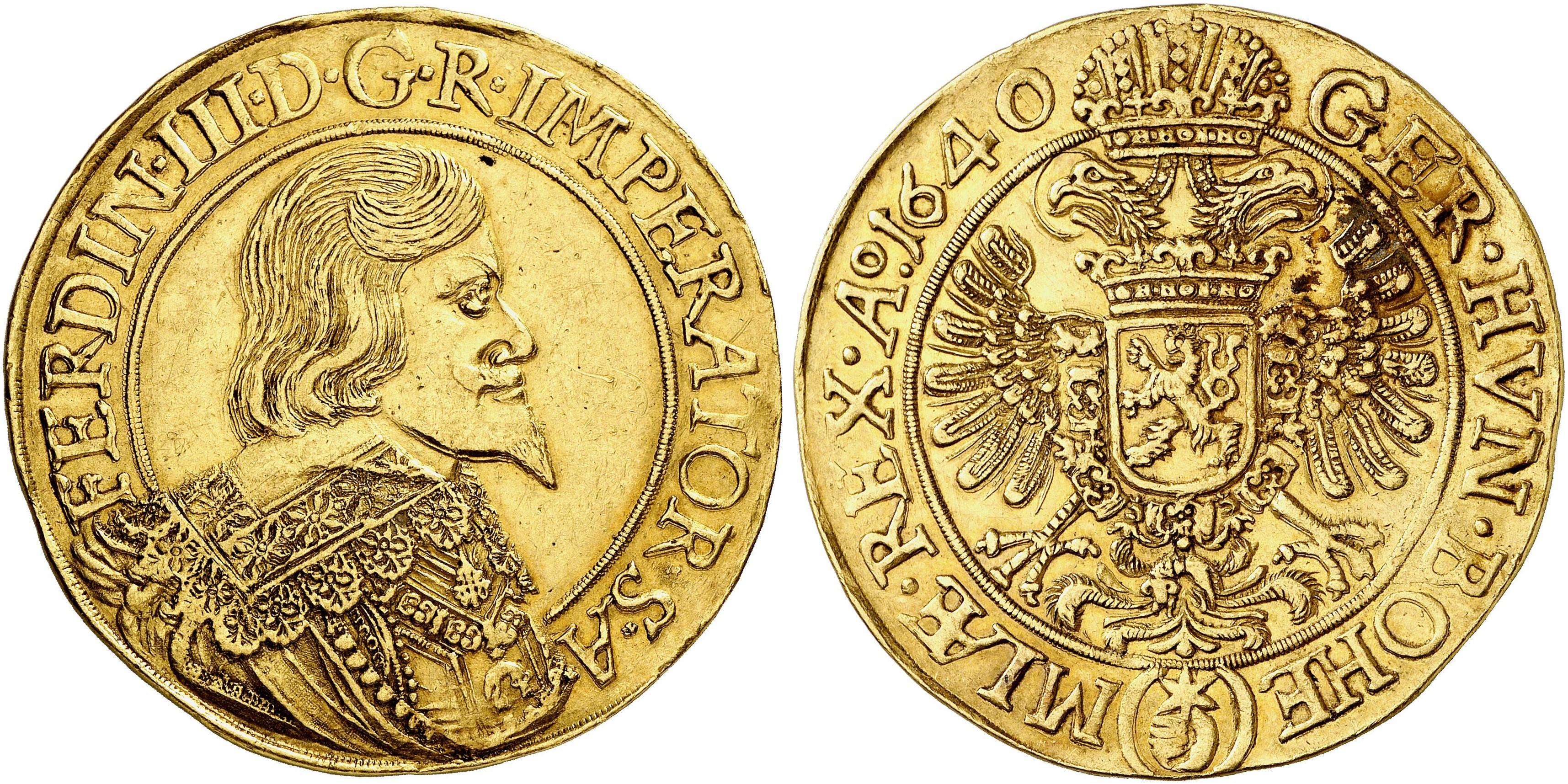Ferdinand Iii 1625 1637 1657 10 Dukaten 1640 Prag 3459 G