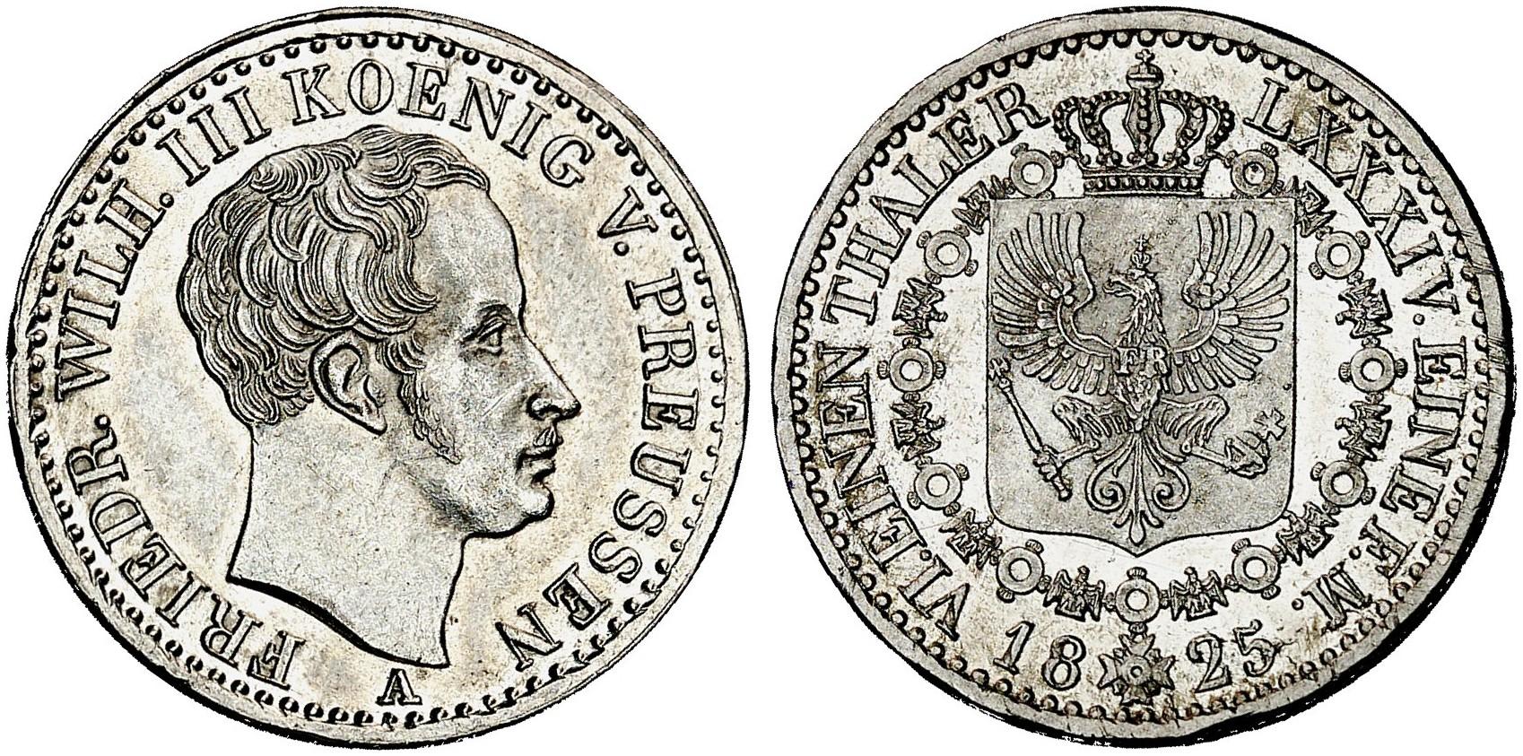 Friedrich Wilhelm Iii 1797 1840 16 Taler 1825 A Aks 26 J 58 A