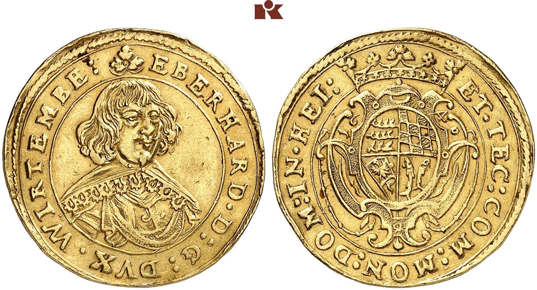 Eberhard Iii 1633 1674 2 Dukaten 1640 Stuttgart Fb 3565 Klein