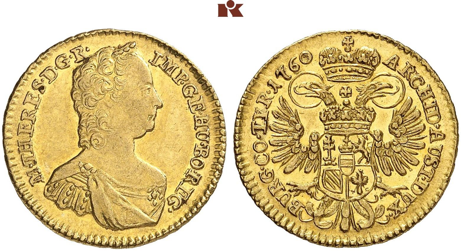 Maria Theresia 1740 1780 Dukat 1760 Wien 348 G Eypeltauer 62 A