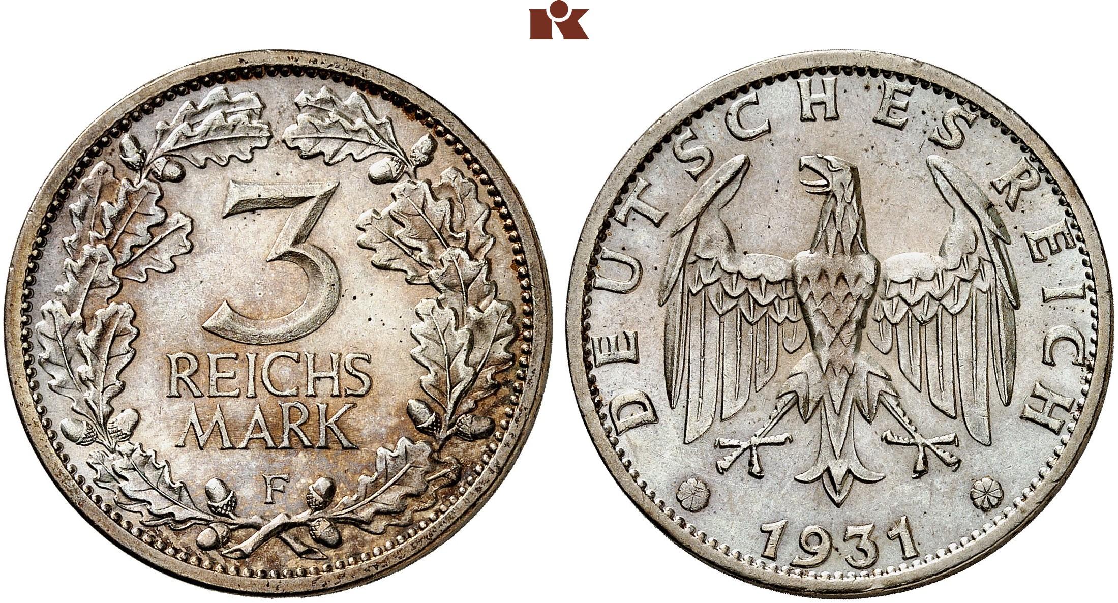3 Reichsmark 1931 F J 349
