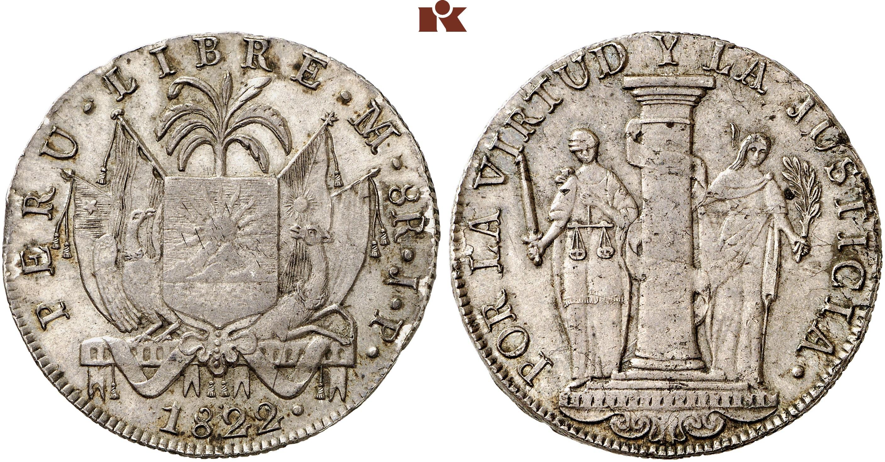 Republik Seit 1822 8 Reales 1822 Jp Lima 2765 G Grunthal