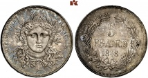 2. Republik, 1848-1852. 5 Francs 1848. Mazard 1283 (R3); Gadoury 699.