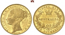 Victoria, 1837-1901. Sovereign 1855, Sydney. Fb. 9; Schl. 801.