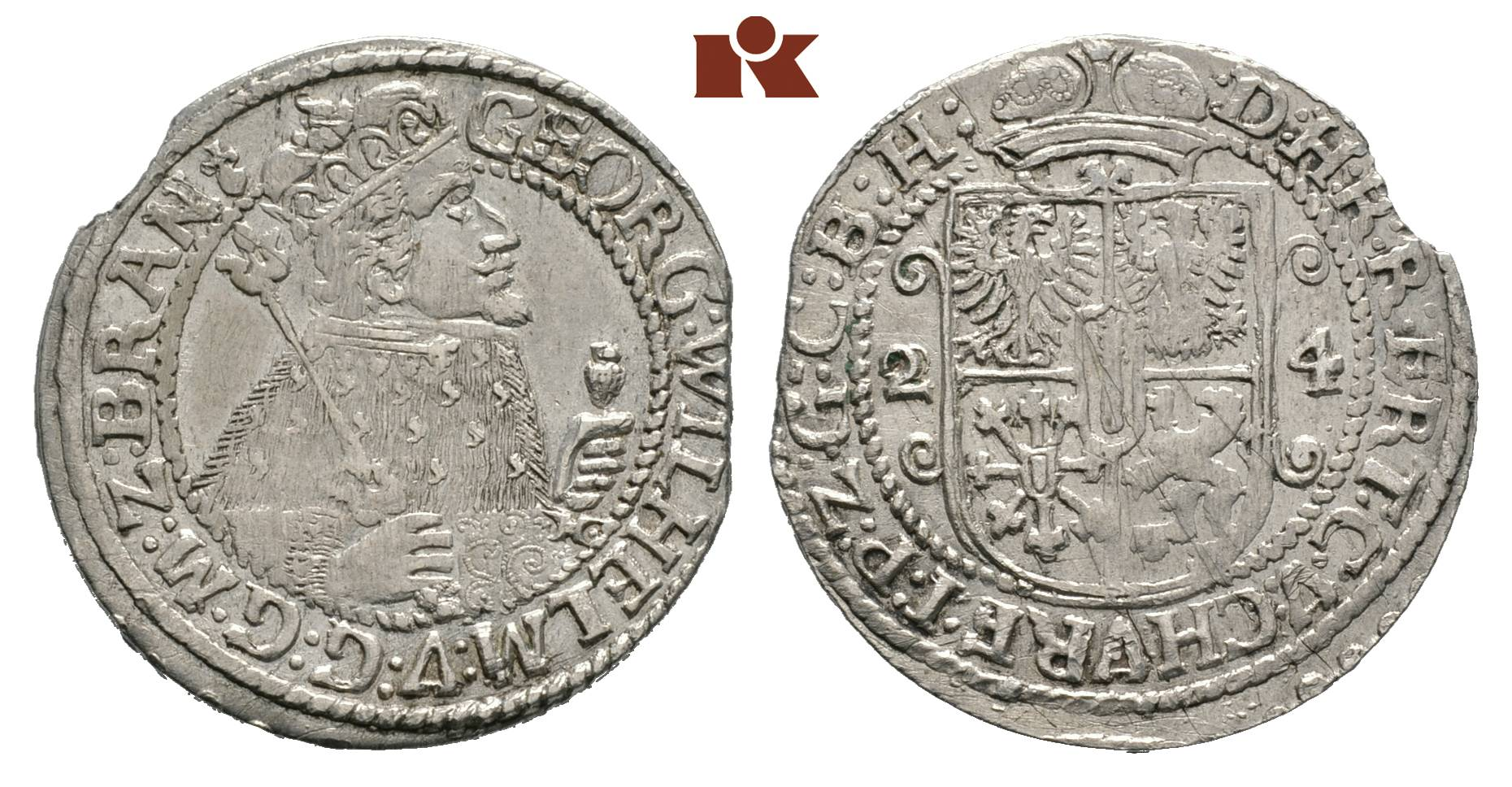Georg Wilhelm 1619 1640 Ort 14 Taler 1624 Königsberg Old 41 A