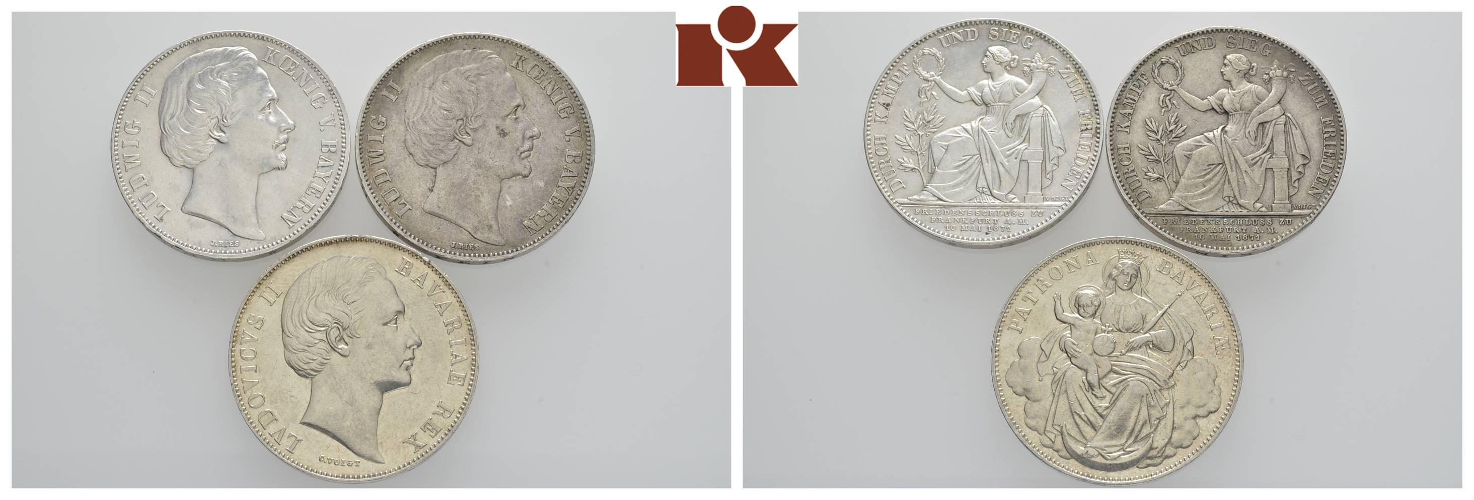 Ludwig Ii 1864 1886 Vereinstaler Thun 104 2x Siegestaler 1871