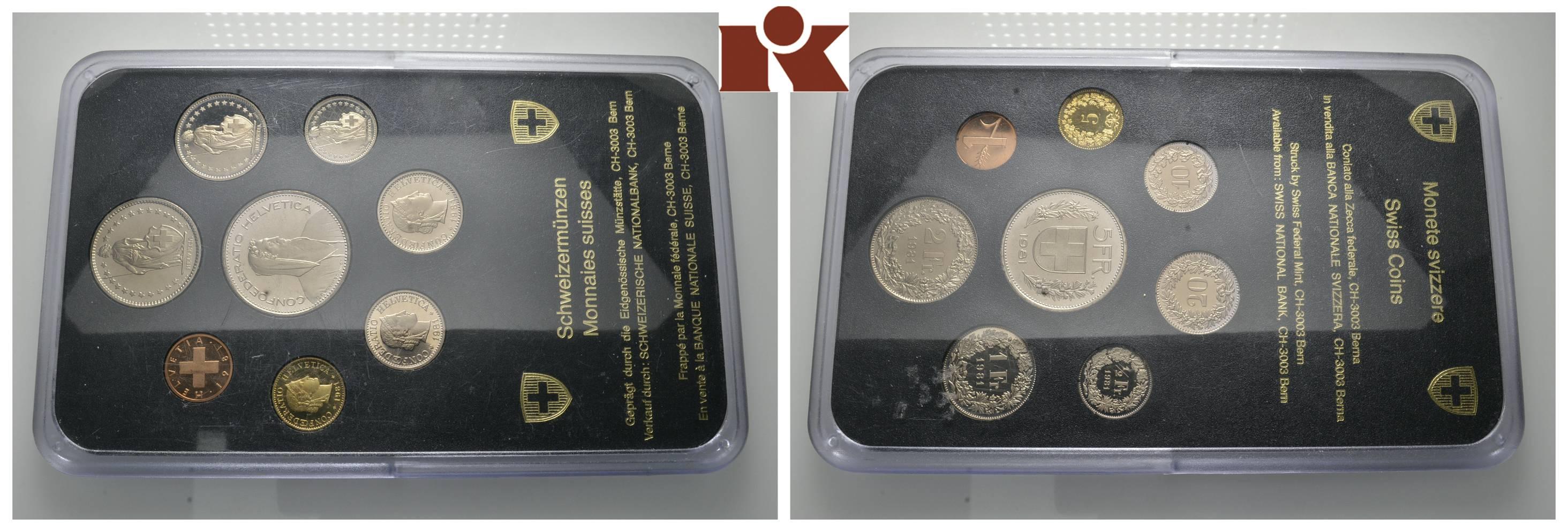 Schweiz. Kursmünzensatz 1981, 1986 und 1989 (je 8 Münzen). San ...