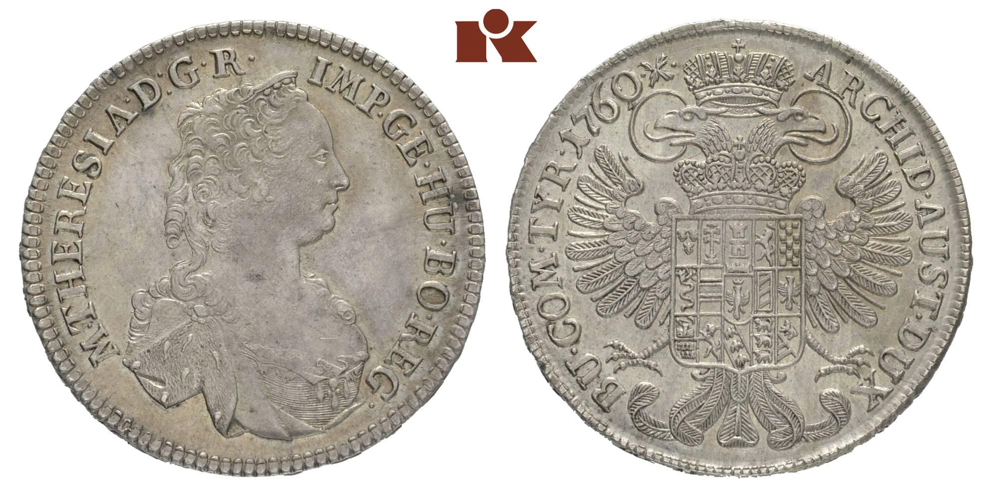 Maria Theresia 1740 1780 12 Reichstaler 1760 Hall Eypeltauer 88