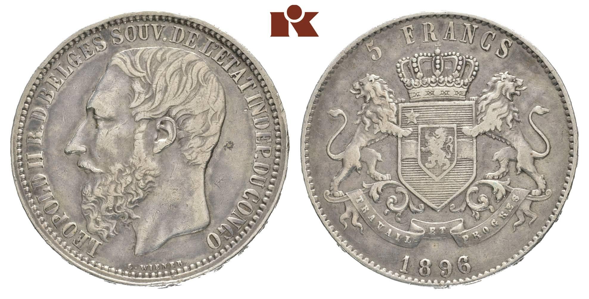 Leopold Ii 1865 1909 5 Francs 1896 Jahreszahl Im Stempel Aus