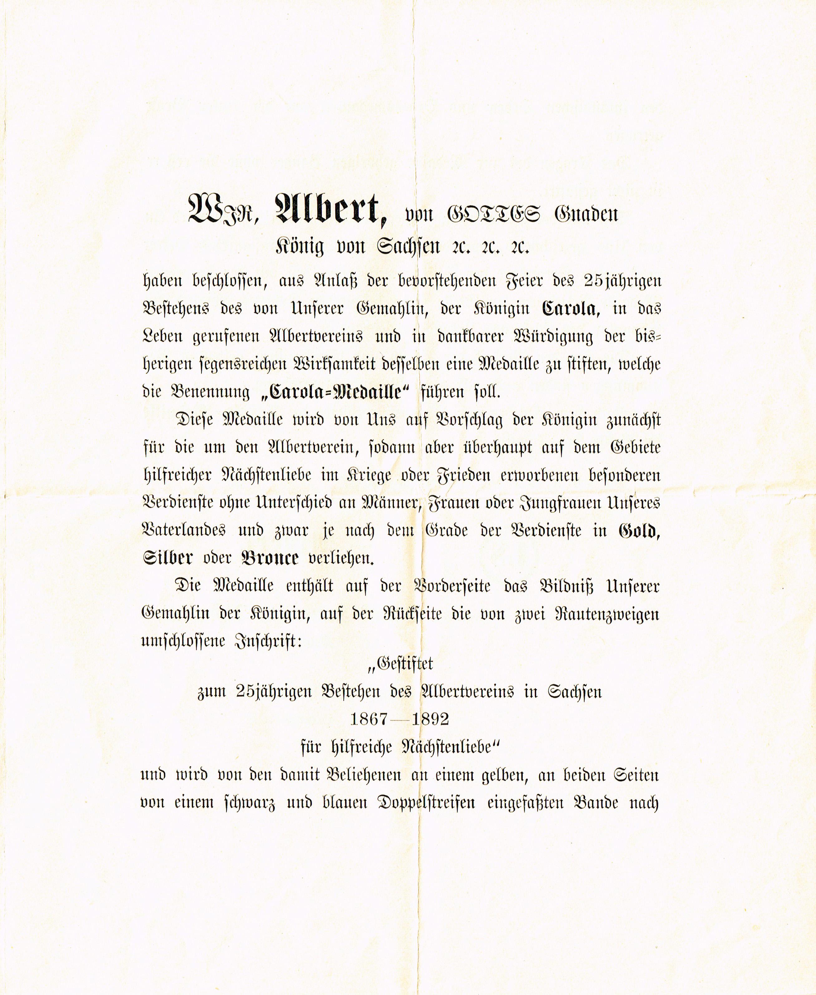 Carola-Medaille. Übersendungsschreiben (Verleihungsurkunde?) zur ...