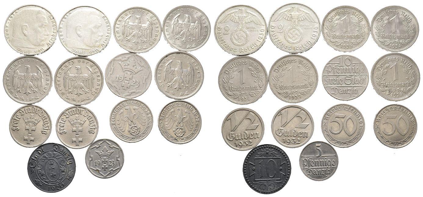 Kleine Sammlung Von Münzen Des 3 Reiches Und Der Stadt Danzig