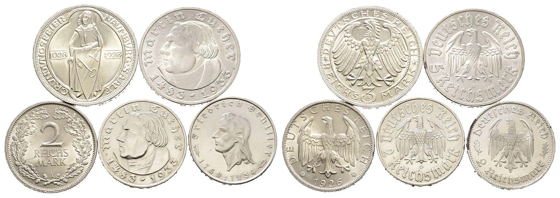 Kleine Sammlung Von Münzen Der Weimarer Republik Und Des Dritten