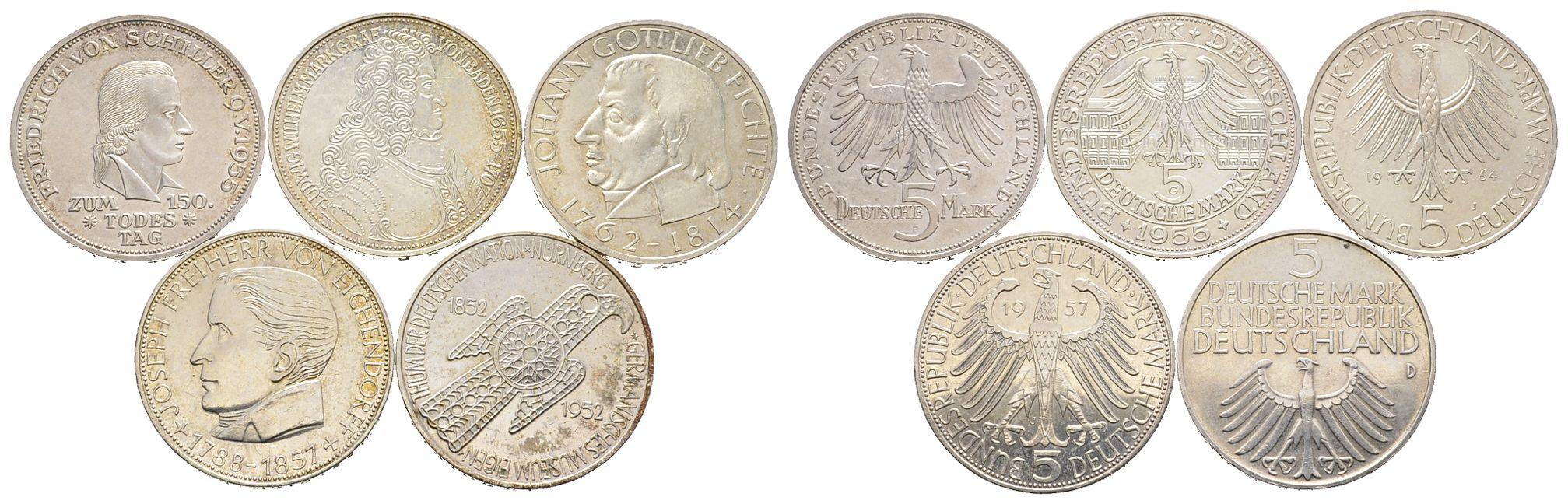 Serie Der Ersten Fünf 5 Dm Gedenkmünzen J 388 1952