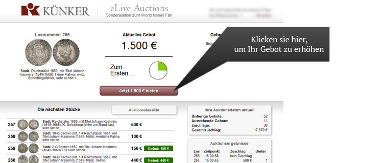 Lobby der eLive Auction